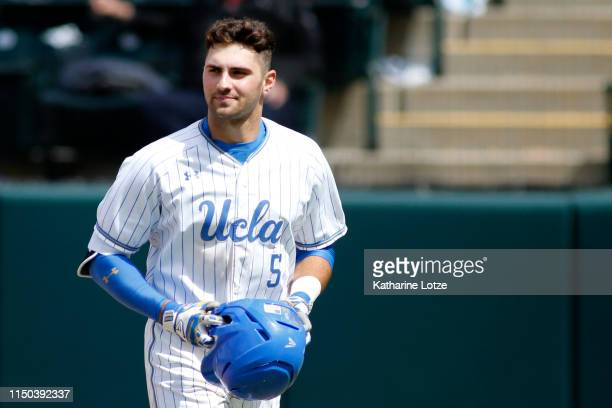 Garrett Mitchell of UCLA looks on during a baseball game against University of Washington at Jackie Robinson Stadium on May 19 2019 in Los Angeles...