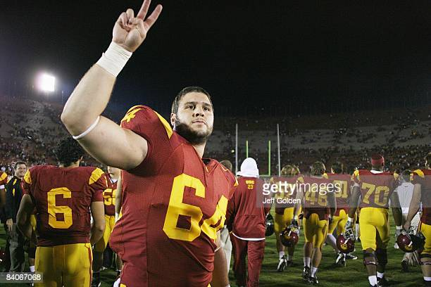 Garrett Nolan of the USC Trojans celebrates after the victory against the Washington Huskies on November 1 2008 at the Los Angeles Memorial Coliseum...