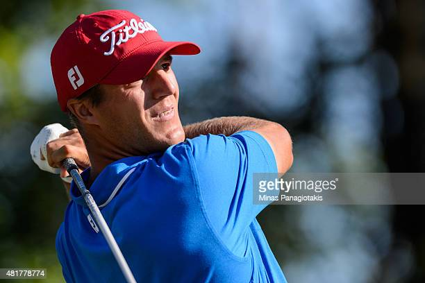 Garrett Rank of Canada tees off from the tenth hole during round two of the 2015 RBC Canadian Open at Glen Abbey Golf Course on July 24 2015 in...