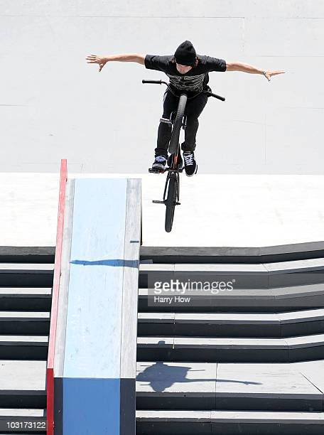 Garrett Reynolds competes in the BMX Freestyle Street Elimination during X Games 16 at the Event Deck LA Live on July 30 2010 in Los Angeles...