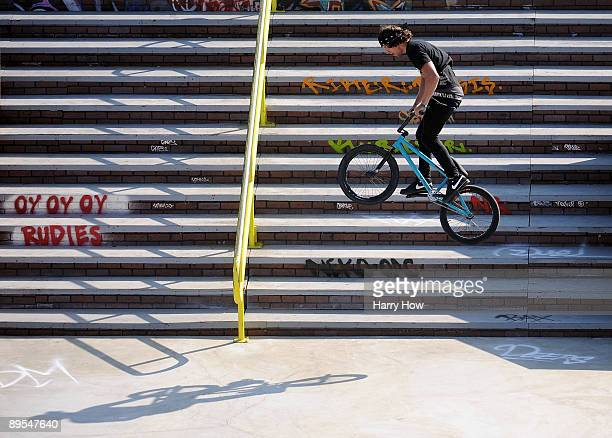 Garrett Reynolds lands a 540 jump on his way to a gold medal in the BMX Freestyle Street Final during X Games 15 at the Home Depot Center on July 31...