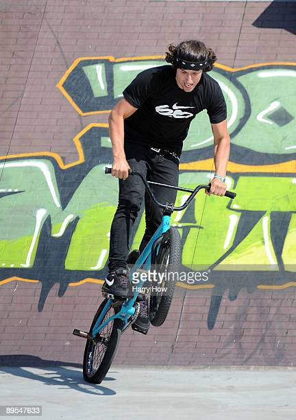 Garrett Reynolds lands his jump on way to a gold medal in the BMX Freestyle Street Final during X Games 15 at the Home Depot Center on July 31 2009...