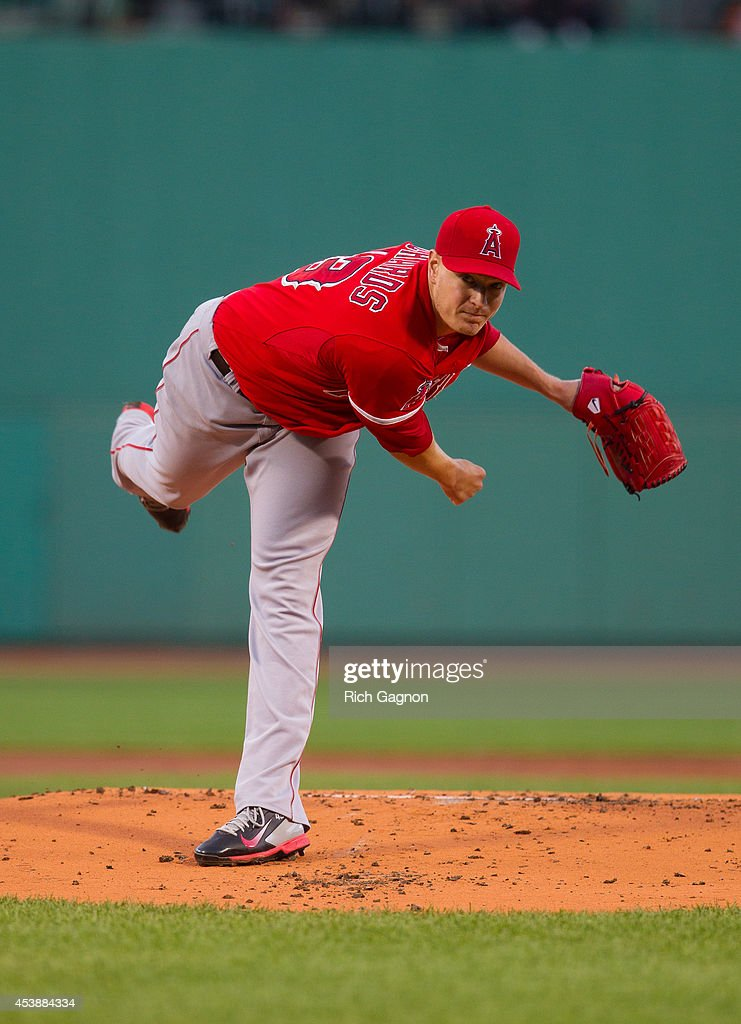 Garrett Richards #43 of the Los Angeles Angels of Anaheim pitches against the Boston Red Sox during the first inning at Fenway Park on August 20, 2014 in Boston, Massachusetts.