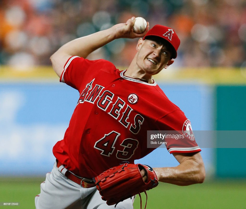 Garrett Richards #43 of the Los Angeles Angels of Anaheim pitches in the first inning against the Houston Astros at Minute Maid Park on September 22, 2017 in Houston, Texas.