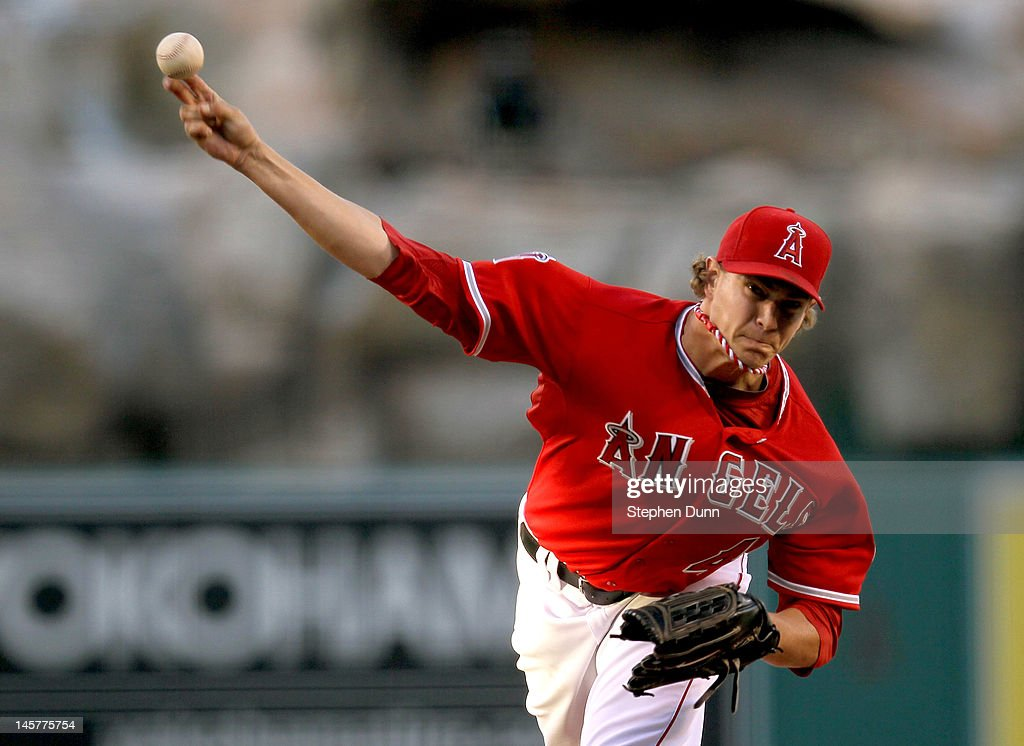 Garrett Richards #43 of the Los Angeles Angels of Anaheim throws a pitch against the Seattle Mariners at Angel Stadium of Anaheim on June 5, 2012 in Anaheim, California.
