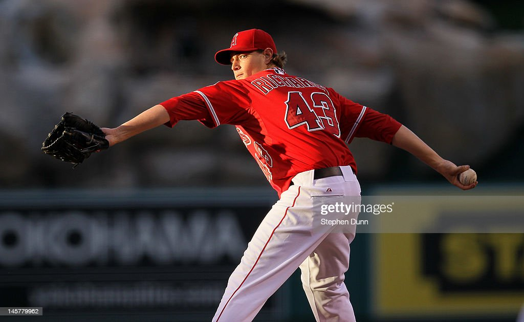Garrett Richards #43 of the Los Angeles Angels of Anaheim throws a pitch against the Seattle Mariners at Angel Stadium of Anaheim on June 5, 2012 in Anaheim, California. Richards picked up his first major league win as the Angels won 6-1.