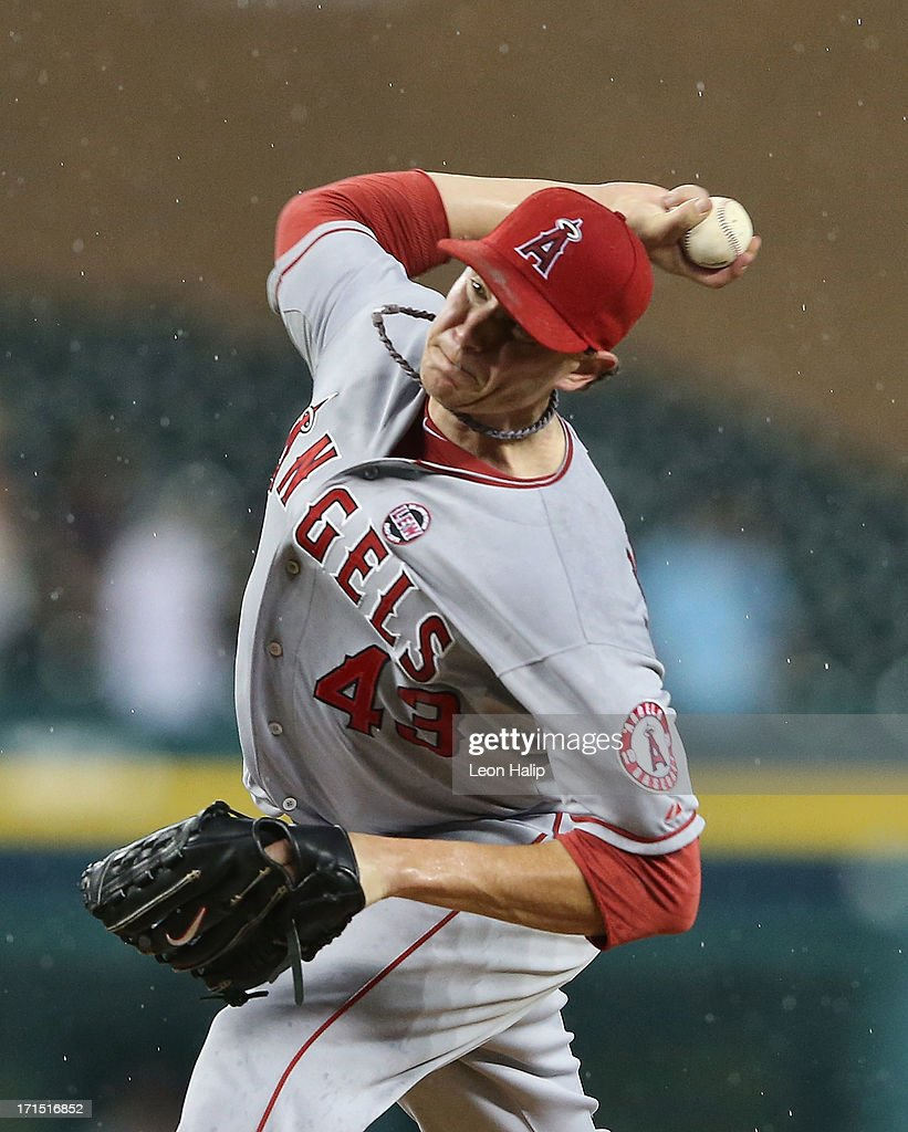 Garrett Richarrds #43 of the Los Angeles Angels of Anaheim pitches in the rain during the ninth inning of the game against the Detroit Tigers at Comerica Park on June 25, 2013 in Detroit, Michigan. The Angels defeated the 14-8.