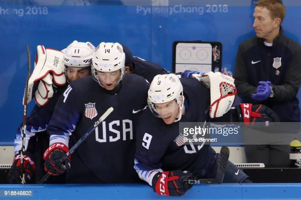 Garrett Roe of the United States Broc Little of the United States Brian O'Neill of the United States celebrate after defeating Slovakia 21 during the...