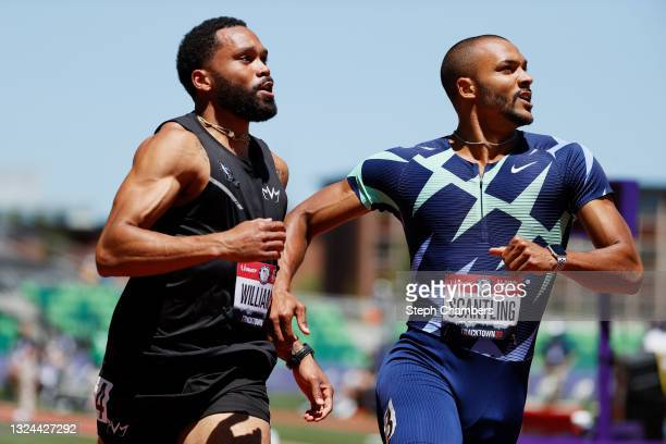 Garrett Scantling and Devon Williams compete in the Men's Decathlon 100 Meters on day 2 of the 2020 U.S. Olympic Track & Field Team Trials at Hayward...