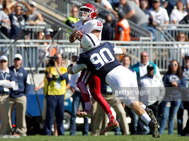 Garrett Sickels of the Penn State Nittany Lions hits Zander Diamont of the Indiana Hoosiers in the third quarter during the game on October 10 2015...