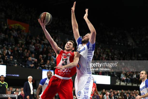 Garrett Sim of Bourg en Bresse during the Jeep Elite match between Boulazac Basket Dordogne v JL Bourg en Bresse on November 17 2018 in Boulazac...