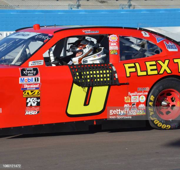 Garrett Smithley Chevrolet heads down pit lane after qualifying session at the NASCAR Xfinity Series Playoff Race Whelen 200 on November 10 2018 at...