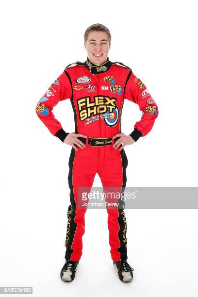 Garrett Smithley driver of the Flex Shot Chevrolet poses for a portrait at Daytona International Speedway on February 24 2017 in Daytona Beach Florida