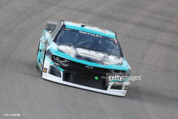 Garrett Smithley, driver of the Rick Ware Racing Ford Mustang, during the Dixie Vodka 400 on February 28, 2021 at Homestead-Miami Speedway in...