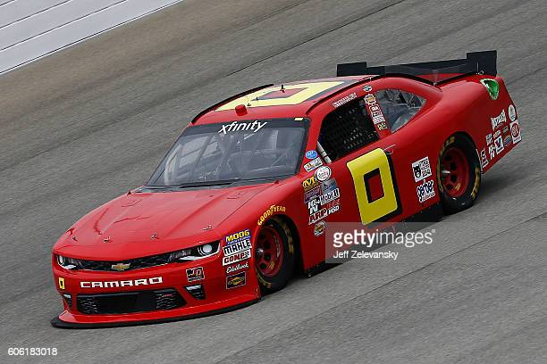 Garrett Smithley driver of the teamjdmotorsportscom Chevrolet practices for the NASCAR XFINITY Series Drive for Safety 300 at Chicagoland Speedway on...