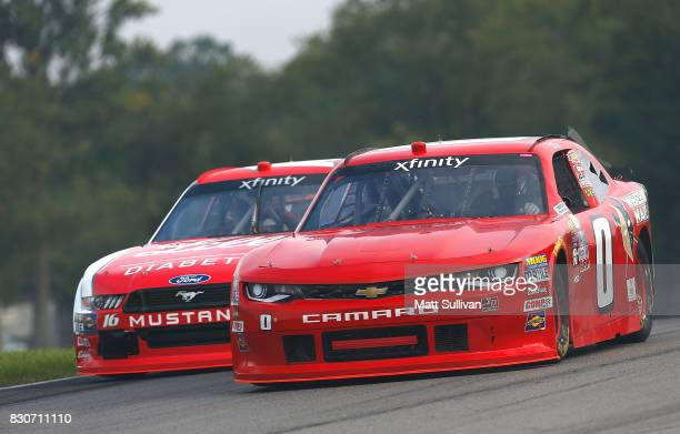 Garrett Smithley driver of the Wheeling Nailers Chevrolet practices for the NASCAR XFINITY Series MidOhio Challenge at MidOhio Sports Car Course on...