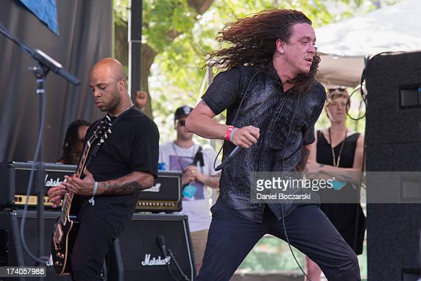 Garrett Stevenson and Lee Spielman of Trash Talk performs on stage on Day 1 of Pitchfork Music Festival 2013 at Union Park on July 19 2013 in Chicago...