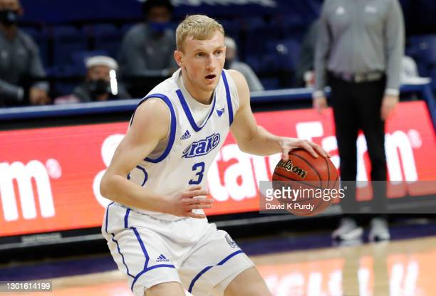 Garrett Sturtz of the Drake Bulldogs drives the ball in the first half of play at Knapp Center on February 10, 2021 in Des Moines, Iowa. The Drake...