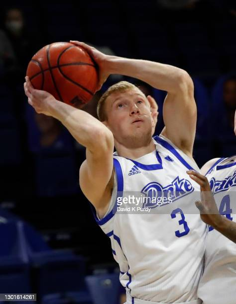 Garrett Sturtz of the Drake Bulldogs shoots the ball in the first half of play at Knapp Center on February 10, 2021 in Des Moines, Iowa. The Drake...