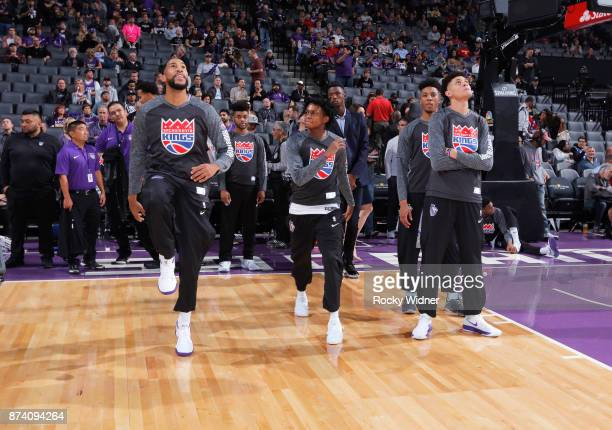 Garrett Temple and De'Aaron Fox of the Sacramento Kings warms up against the Philadelphia 76ers on November 9 2017 at Golden 1 Center in Sacramento...