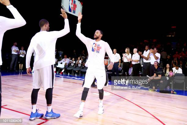 Garrett Temple of Team World is introduced before the game against Team Africa during the 2018 NBA Africa Game as part of the Basketball Without...