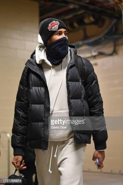 Garrett Temple of the Chicago Bulls arrives prior to a game against the Philadelphia 76ers on February 19, 2021 at Wells Fargo Center in...