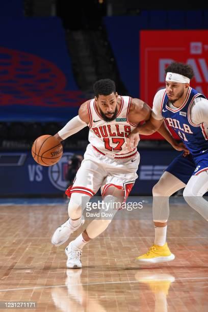 Garrett Temple of the Chicago Bulls handles the ball against the Philadelphia 76ers on February 19, 2021 at Wells Fargo Center in Philadelphia,...