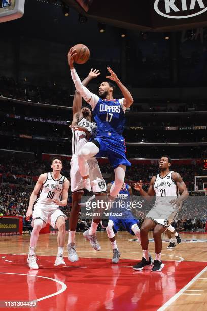 Garrett Temple of the LA Clippers drives to the basket during the game against the Brooklyn Nets on March 17 2019 at STAPLES Center in Los Angeles...