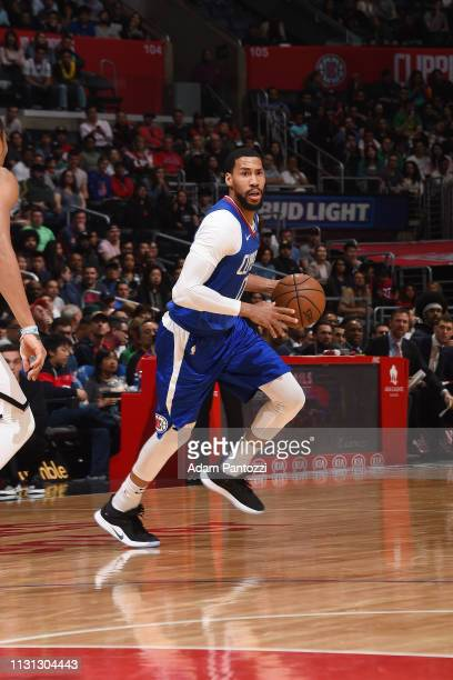 Garrett Temple of the LA Clippers handles the ball during the game against the Brooklyn Nets on March 17 2019 at STAPLES Center in Los Angeles...