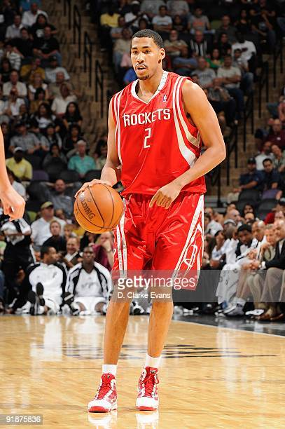 Garrett Temple of the Houston Rockets surveys the court against the San Antonio Spurs during the preseason game on October 6 2009 at the ATT Center...