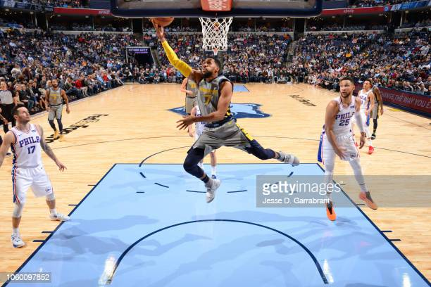 Garrett Temple of the Memphis Grizzlies goes to the basket against the Philadelphia 76ers on November 10 2018 at FedExForum in Memphis Tennessee NOTE...