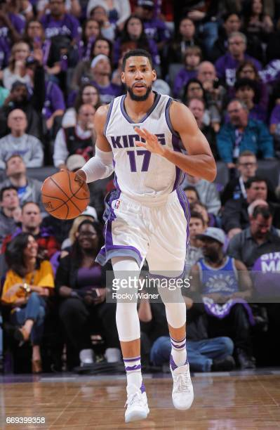 Garrett Temple of the Sacramento Kings brings the ball up the court against the Phoenix Suns on April 11 2017 at Golden 1 Center in Sacramento...