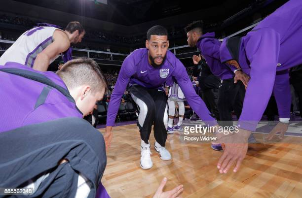 Garrett Temple of the Sacramento Kings gets introduced into the starting lineup against the Milwaukee Bucks on November 28 2017 at Golden 1 Center in...