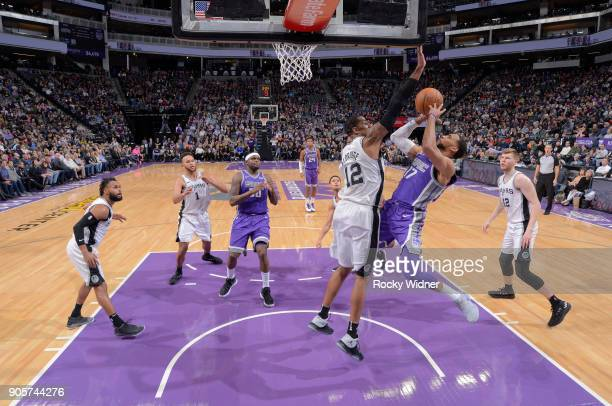 Garrett Temple of the Sacramento Kings goes up for the shot against LaMarcus Aldridge of the San Antonio Spurs on January 8 2018 at Golden 1 Center...