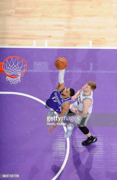 Garrett Temple of the Sacramento Kings goes up for the shot against Davis Bertans of the San Antonio Spurs on January 8 2018 at Golden 1 Center in...
