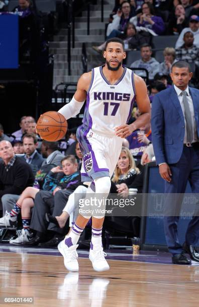Garrett Temple of the Sacramento Kings handles the ball against the Phoenix Suns on April 11 2017 at Golden 1 Center in Sacramento California NOTE TO...