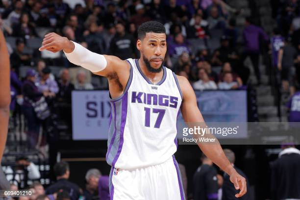 Garrett Temple of the Sacramento Kings looks on during the game against the Phoenix Suns on April 11 2017 at Golden 1 Center in Sacramento California...