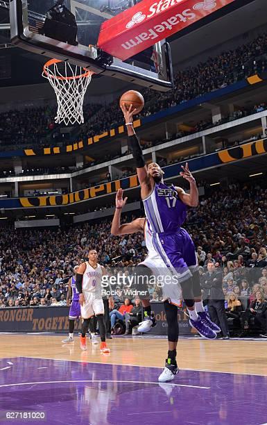 Garrett Temple of the Sacramento Kings shoots a layup against the Oklahoma City Thunder on November 23 2016 at Golden 1 Center in Sacramento...