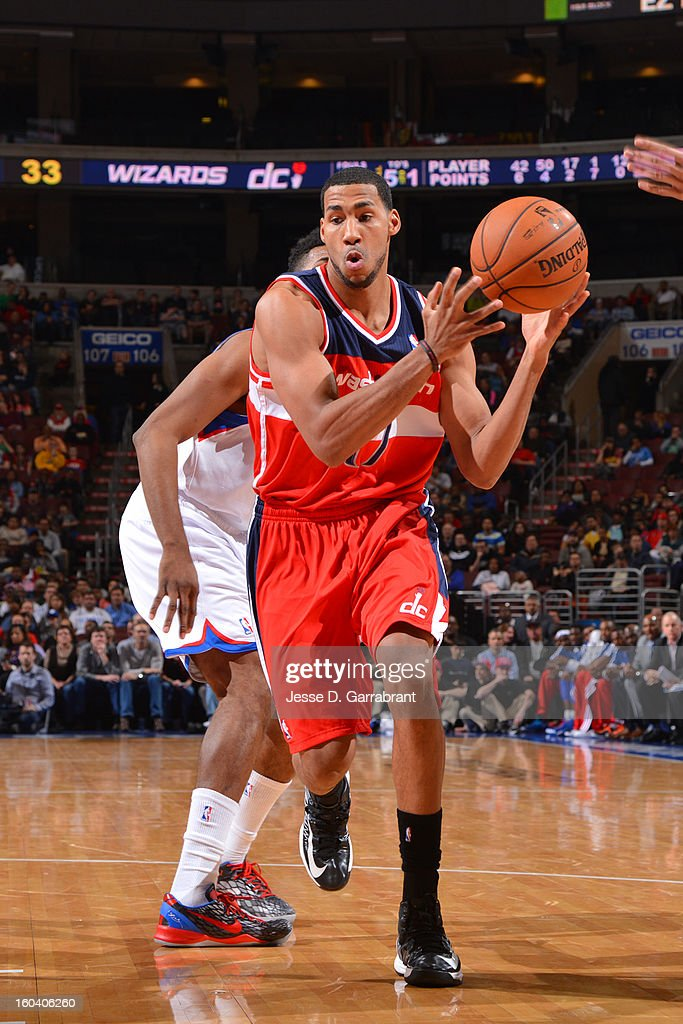Garrett Temple #17 of the Washington Wizards handles the ball against the Philadelphia 76ers at the Wells Fargo Center on January 30, 2013 in Philadelphia, Pennsylvania.