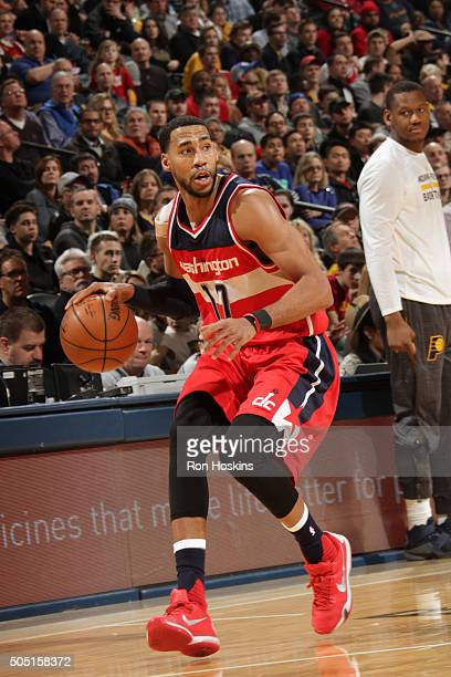 Garrett Temple of the Washington Wizards handles the ball against the Indiana Pacers on January 15 2016 at Bankers Life Fieldhouse in Indianapolis...