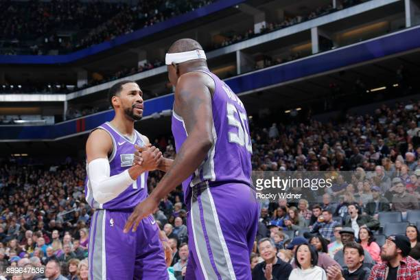 Garrett Temple Zach Randolph of the Sacramento Kings shake hands during the game against the Phoenix Suns on December 29 2017 at Golden 1 Center in...