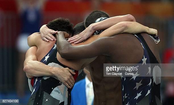 Garrett Weber-Gale, Jason Lezak, Michael Phelps and Cullen Jones of the United States celebrate finishing the Men's 4 x 100m Freestyle Relay Final in...