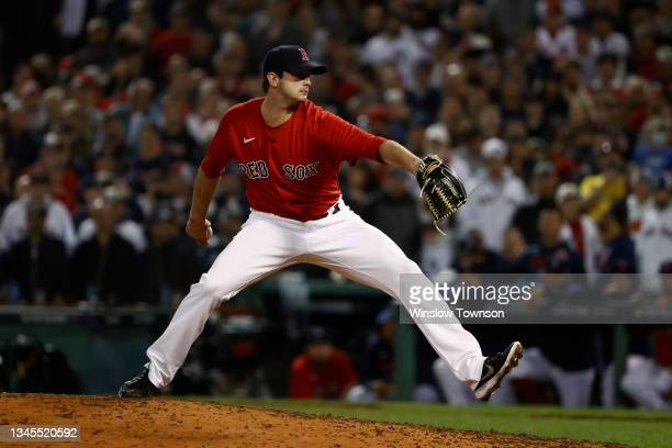 Garrett Whitlock of the Boston Red Sox pitches against the New York Yankees during the AL Wild Card playoff game at Fenway Park on October 6, 2021 in...