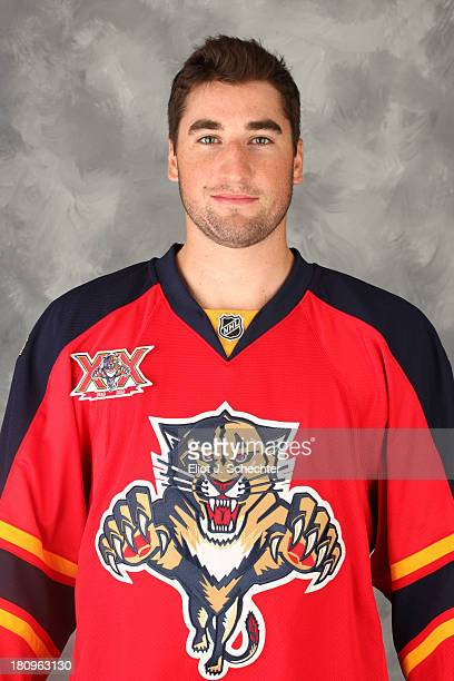 Garrett Wilson of the Florida Panthers poses for his official headshot for the 20132014 NHL season on September 11 2013 in Sunrise Florida