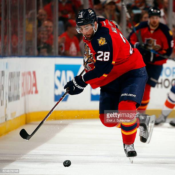 Garrett Wilson of the Florida Panthers skates with the puck against the New York Islanders in Game Five of the Eastern Conference First Round during...