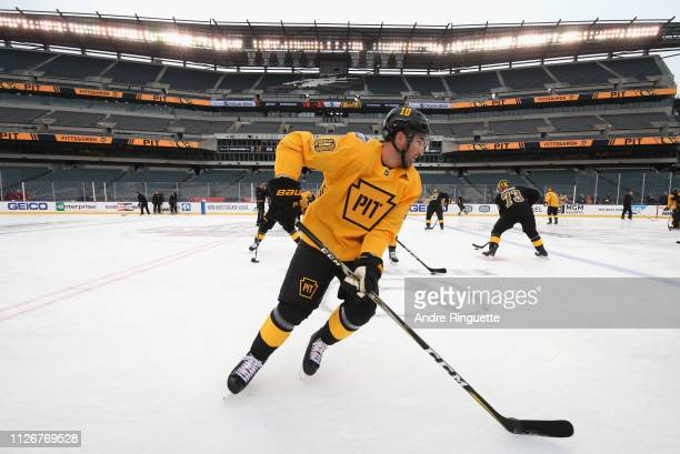 Garrett Wilson of the Pittsburgh Penguins attends practice for the 2019 Coors Light NHL Stadium Series game against the Philadelphia Flyers at...