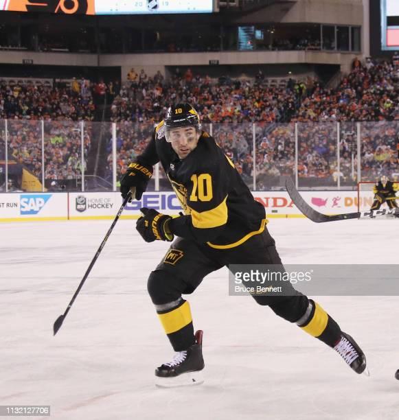 Garrett Wilson of the Pittsburgh Penguins skates against the Philadelphia Flyers during the 2019 Coors Light NHL Stadium Series game at the Lincoln...