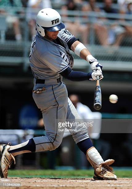 Garrett Wittles of Florida International University extends his hitting streak to 56 consecutive games with a hit against Dartmouth in the NCAA Coral...