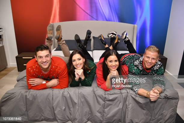 Garrett Yrigoyen Becca Kufrin Catherine Lowe and Sean Lowe pose as Sean and Catherine Lowe Becca Kufrin and Garrett Yrigoyen celebrate Sleep Number...