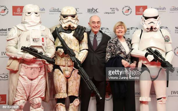 Garrick Hagan with his wife Liza Ross attend the Star Wars The Last Jedi Closing Night red carpet on day eight of the 14th annual Dubai International...